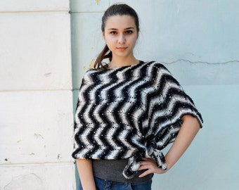 Womens Hand Knit Poncho, striped black and white, Shawl Wrap, Holiday Fashion, winter Poncho, teenagers, Size S - XXXL, oversized