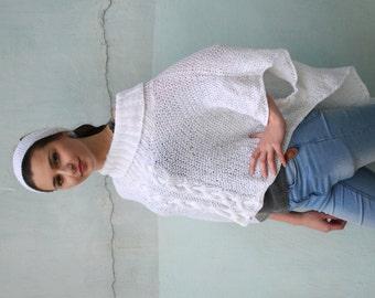 SALE 10% !!!!!Knitted Poncho, snow white wrap, poncho with sleeves, Aran Wool Sweater, cape, Ready to Ship