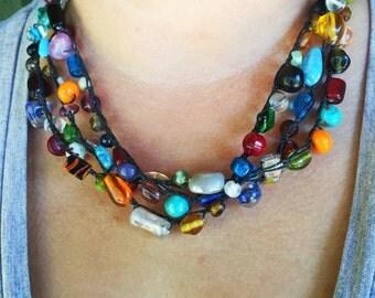Color Wheel Crochet Necklace