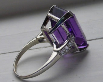 Glamerous 14k Art Deco Retro Dimaond and LARGE emerald cut Fine AMETHYST cocktail 6.5.