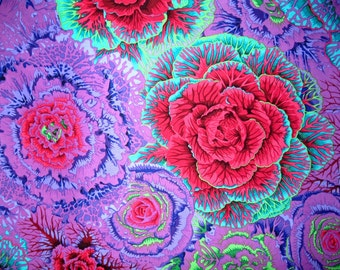 Multi Purples  Hot Pink and Turq  big Cabbage Roses by Phillip Jacobs. A Kaffe Fassett Collective fabric for Rowan Westminster