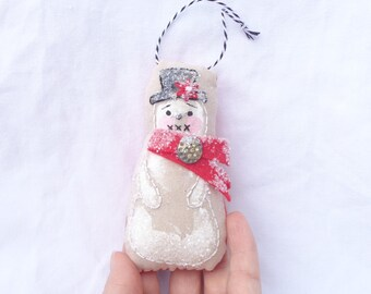 Hand Embroidered and Painted Sparkly Snowy Snowman with Red Scarf Vintage Button