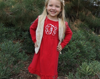 Christmas Dress with Embroidered Monogram. Red Ruffle dress for baby girl, toddler, little girl. Xmas holiday monogrammed outfit for girls.