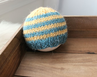 newborn photography prop, blue mustard yellow striped beanie hat with button, 0-2 months-soft to skin alpaca mix yarn-baby shower gift
