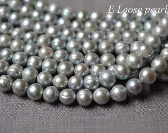 Potato pearl Large Hole pearl Freshwater Pearl Potato pearl loose pearl necklace Loose pearls 10.5-11.5mm gray 35pcs Full Strand PL2259