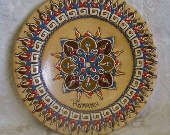 Romanian Plate Painted Wood Design Folk Art Vintage Romania Original Authenticity Labels Tribal HEX SYMBOLS Beautiful Brilliant Colorful