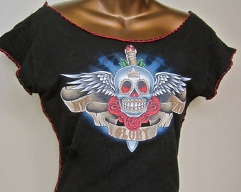 Skull Tee Shirt Crop Top Restyled Day of the Dead SMALL Skull Sword Wings Red Roses TATTOO ART Scoop Neck Cap Sleeves Form Fitted Short