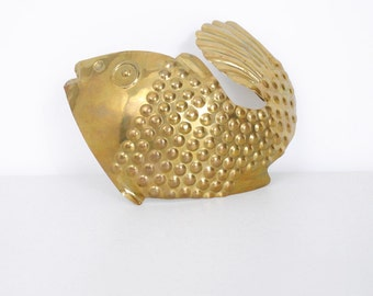 Vintage Extra Large Brass Fish Buckle / Made in India
