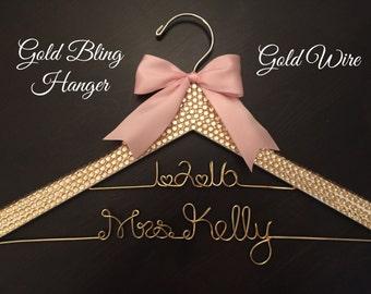 Gold BLING Wedding Hanger, Rhinestone Hanger, Bridal Hanger, Personalized Hanger, Gold Wire Hanger, Bride Hanger, Gold and Blush Wedding