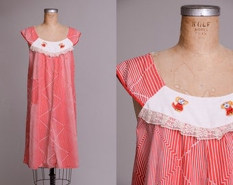 70s Babydoll Dress Red and White Striped Cotton Novelty Stitched Tent Dress