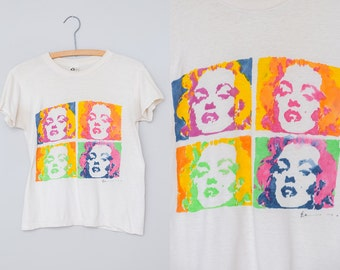 1960s RARE Andy Warhol Marilyn Diptych Hand Painted Pop Art White Cotton T Shirt