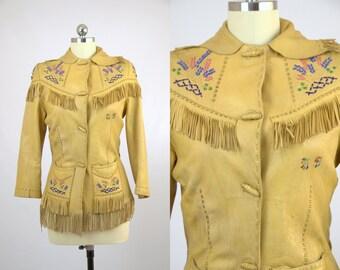 1920s Nez Perce Original Hand Beaded Native American Deerskin Fringe Jacket