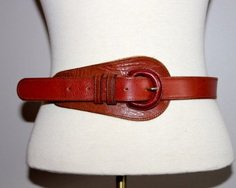 vintage 1960s BROWN LEATHER belt with leather buckle abstract made in INDIA rare boho hippie small medium