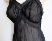Vintage sheer black nightgown 1940's very sexy slip lingerie  XS S small