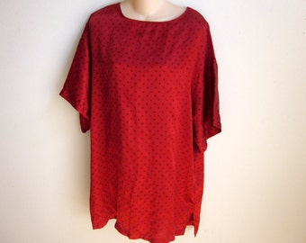 Victoria's Secret satin nightgown red night shirt top sexy lingerie  L XL