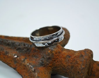 Mens Wedding Band - Mens Hammered Silver Wedding Band - Artisan Promise Ring for Him - Sterling Silver - Mens Rings