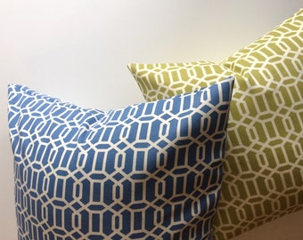 SALE Waverly geometric throw pillow cover. 16 inch, blue or green and white pattern.  For indoor or outdoor use.