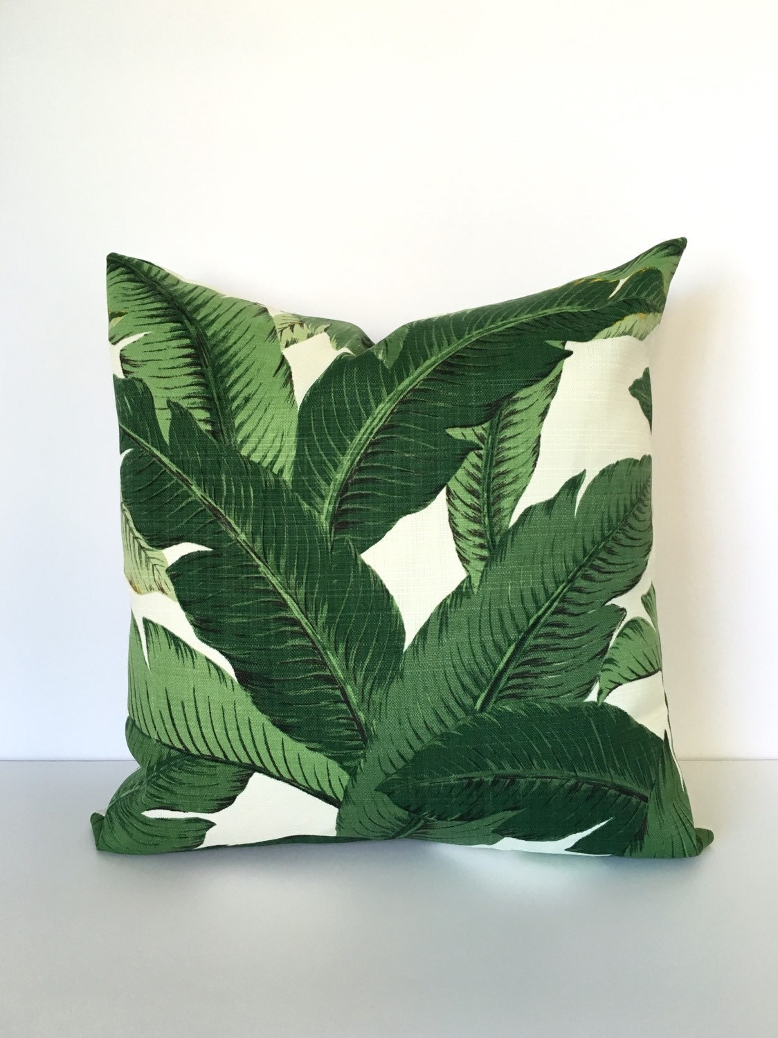 Throw pillow cover palm leaf tropical print. by CushionCutDecor