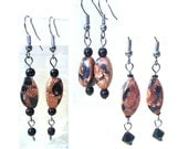 Shimmering Tiger Glitter Goldstone Handcrafted Dangle Earrings, Handmade Original Fashion Jewelry, Simple Unique Copper Black Ladies Gift