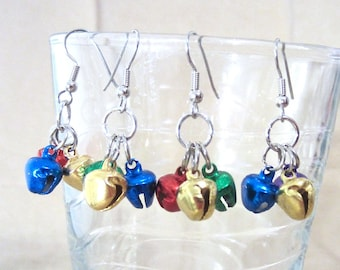 Holiday Jingle Bell Handcrafted Earrings, Handmade Original Fashion Jewelry, Cheerful Colorful Metal Christmas Bells, Festive Playful Bright