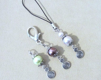 Glass Pearl & Silver Spiral Add a Charm, Beaded Jewelry Purse Charm, Colored Add on Pearls, Beads to Add to a Keychain, Purse Zipper Pull