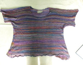 The Amazing Multicolored Mulberry Silk Shirt  -  Handmade knitted Pullover  - individually knitted by kathrin kneidl  -  OAK