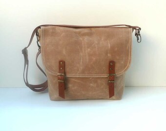 Free Express Shipping Tan WAXED Canvas Messenger Bag Single Cotton Strap Shoulder bag / Cross Body Messenger
