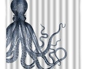 Octopus Tentacles Shower Curtain - Octopus - Ocean Octopus Shower Curtain - Vintage Octopus Print - Octopus Bath Decor - Octopus Art