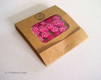 Hot Pink Polka Dot Buttons x 20 - Matchbook Gift Case - 12mm 2 Hole Sewing Craft - Spotty Dotty Button