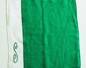 """Collectible GREEN LINEN HANDKERSHIEF with Initial 'S' Perfect for St. Patrick's Day, Very Good Vintage Condition, 10"""" x 11"""""""
