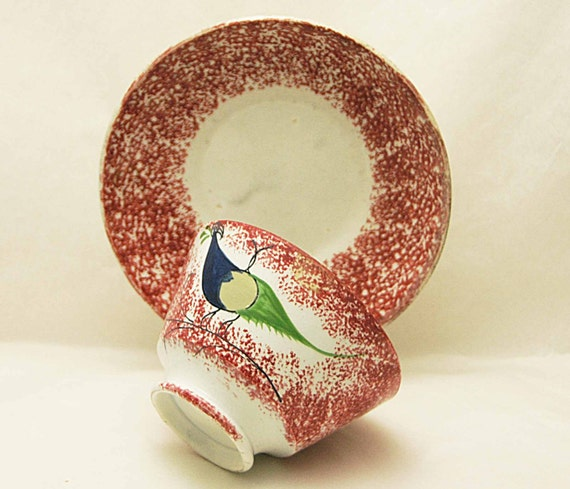 """Antique 19th C. RED SPATTERWARE Cup w/ PEAFOWL and Red Saucer Cup measures 2 1/2"""" high x 4"""" wide opening Very Good Vintage Condition"""