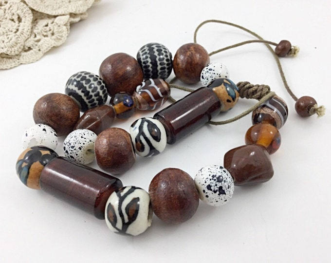 Artisan Glass Art Bead Necklace. Cream, Amber, Wooden, Stripes, Lampwork. Browns, black, white. Rustic, natural, hippy Jewelry.