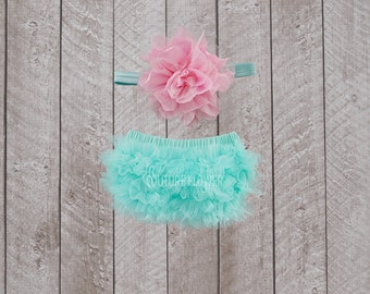 Baby Girl Ruffle Bottom Bloomer & Headband Set in Aqua and Pink - Newborn Photo Set - Baby Bloomer - Diaper Cover - Baby Gift - 1st Birthday