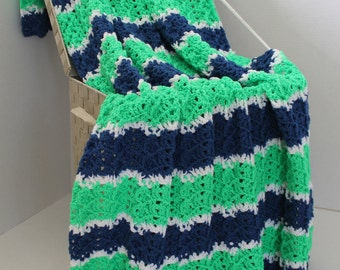 Afghan - Handmade Ripple Crochet Blanket - Bright Green and Blue