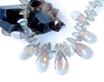 "Pale Blue Chalcedony ""PETALS"" collar necklace-Sparkling Elegance!"