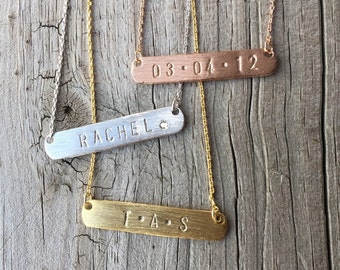 Personalized Bar Necklace, Dainty Necklace