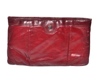 Vintage  Karnig Mann  bag purse  burgundy oxblood clutch handbag evening purse Fall Fashion. Mad Men style.  made in Canada