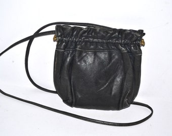 70s vintage black leather small purse cellphone case crossbody organizer purse distressed  leather metal frame Hippie bag Fathers Day gift