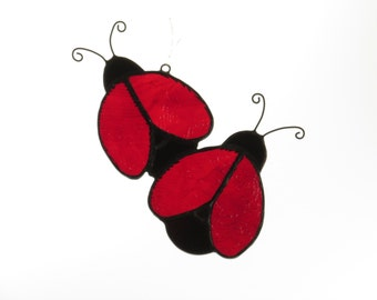 Stained Glass Ladybugs Suncatcher - Price Includes Shipping