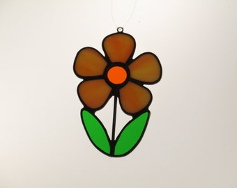 Stained Glass Flower Suncatcher Coral - Price Includes Shipping