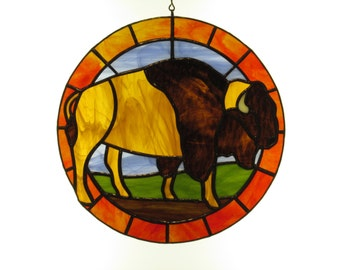 Stained Glass Bison Suncatcher - Price Includes Shipping