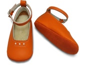 Soft soled leather orange and white baby shoes.  Mary Jane.  Handmade baby girl shoes.  Infant shoes.