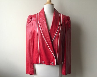 Vintage Red Leather Puff Sleeve Jacket