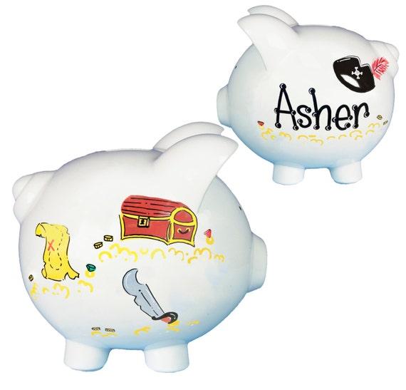 Custom pirate piggy bank childs boys white ceramic piggy bank - Ceramic piggy banks for boys ...
