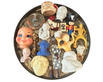 large lot of assorted doll heads and bodies, doll parts, vintage figurines, assemblage supply supplies,  from Elizabeth Rosen
