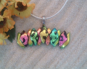 Handcrafted Dichroic Glass Bar Shaped Pendant