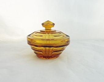 Vintage Amber Glass Trinket Box,  Amber Glass Jewellery Box, Amber Cut Glass Powder Jar, Dressing Table Amber Glass Trinket Box