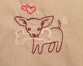 Embroidered Chihuahua Dog, Small Flap Style Pouch for Personal Items, in Neutral Tan