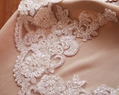 bead and sequined lace trim, bead cord lace trim, bridal lace trim