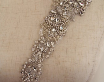 crystal sash belt, bridal sash belt, wedding belt sash applique zp96